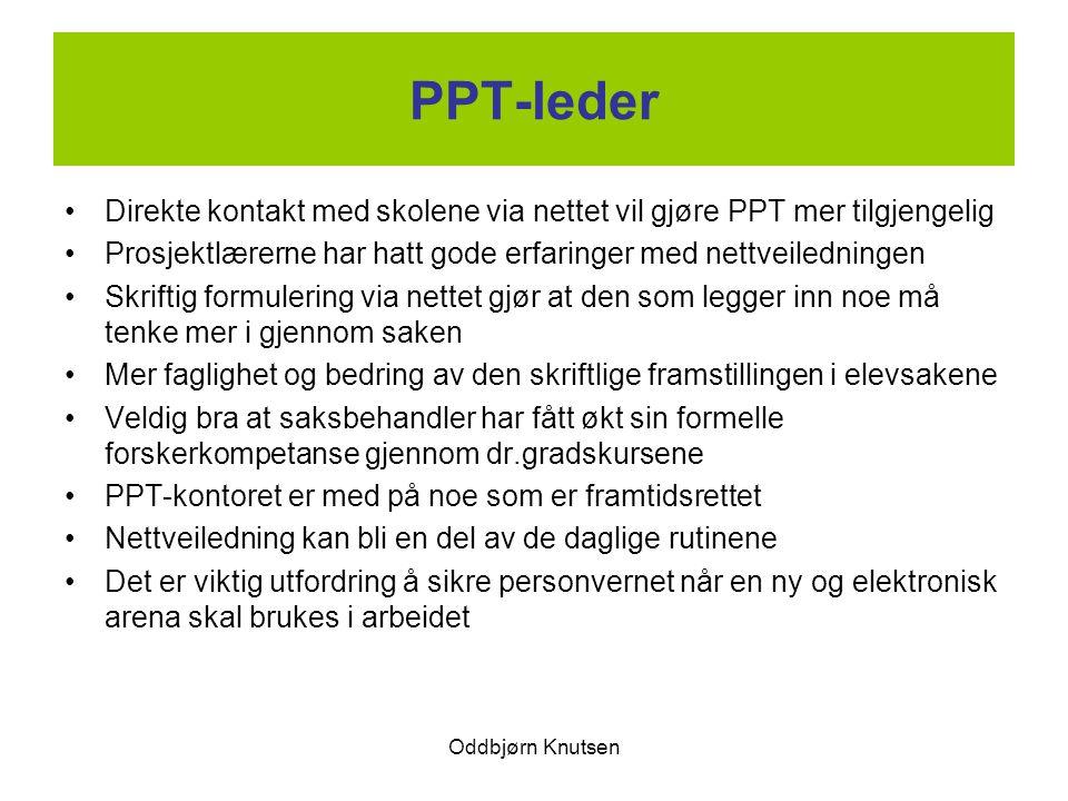 Oddbjørn Knutsen PPT-leder Direkte kontakt med skolene via nettet vil gjøre PPT mer tilgjengelig Prosjektlærerne har hatt gode erfaringer med nettveil