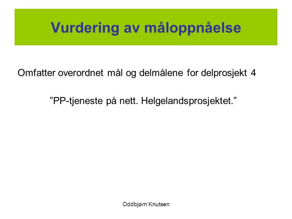 """Oddbjørn Knutsen Vurdering av måloppnåelse Omfatter overordnet mål og delmålene for delprosjekt 4 """"PP-tjeneste på nett. Helgelandsprosjektet."""""""
