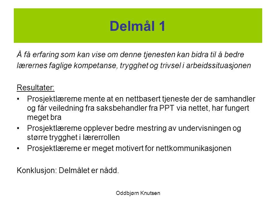 Oddbjørn Knutsen Delmål 1 Å få erfaring som kan vise om denne tjenesten kan bidra til å bedre lærernes faglige kompetanse, trygghet og trivsel i arbei