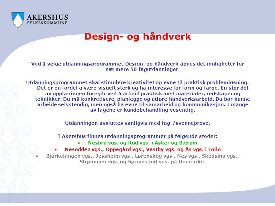 Design- og håndverk Ved å velge utdanningsprogrammet Design- og håndverk åpnes det muligheter for nærmere 50 fagutdanninger. Utdanningsprogrammet skal