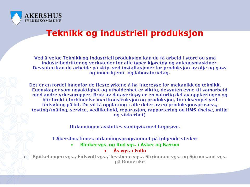 Teknikk og industriell produksjon Ved å velge Teknikk og industriell produksjon kan du få arbeid i store og små industribedrifter og verksteder for al