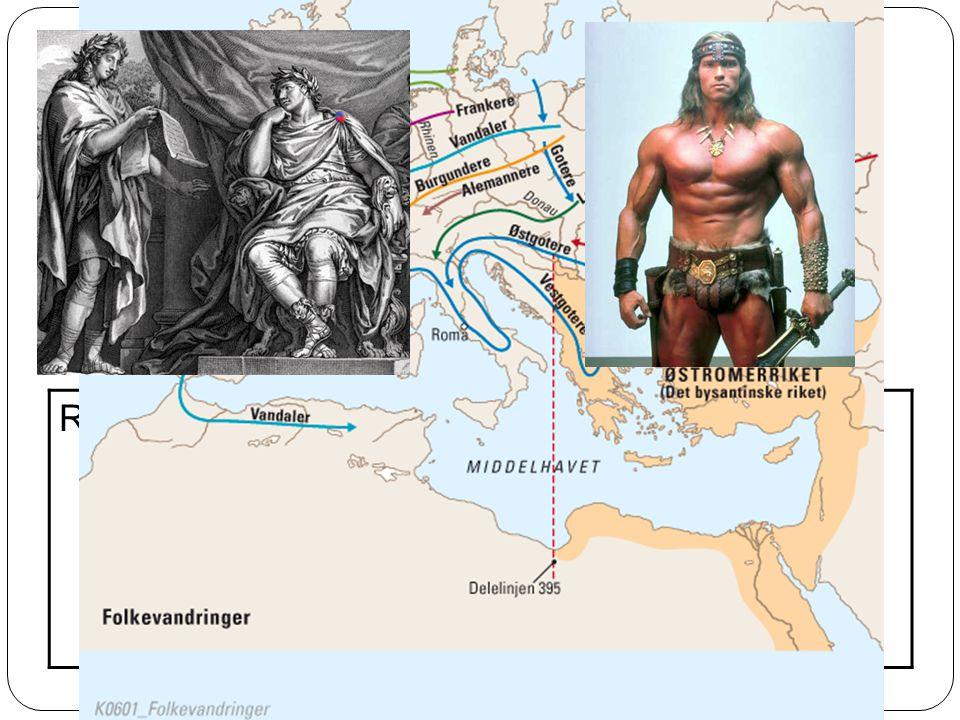 Folkevandringer ca. 400 – 600 e.kr. Germanske stammer invaderer Vest-Romerriket Kulturblanding: Romersk kultur Fast byråkratisk tradisjon Skriftlig re
