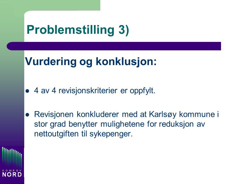 Problemstilling 3) Vurdering og konklusjon: 4 av 4 revisjonskriterier er oppfylt. Revisjonen konkluderer med at Karlsøy kommune i stor grad benytter m