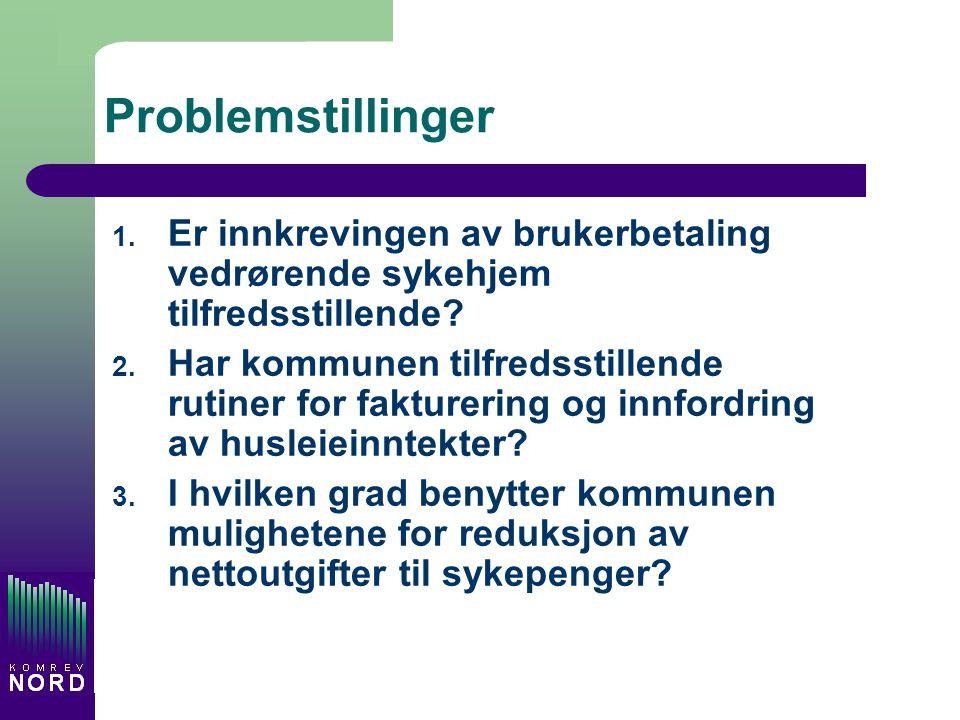 Problemstillinger 1. Er innkrevingen av brukerbetaling vedrørende sykehjem tilfredsstillende? 2. Har kommunen tilfredsstillende rutiner for fakturerin