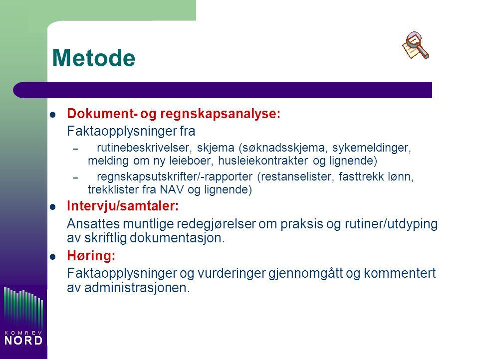 Metode Dokument- og regnskapsanalyse: Faktaopplysninger fra – rutinebeskrivelser, skjema (søknadsskjema, sykemeldinger, melding om ny leieboer, huslei