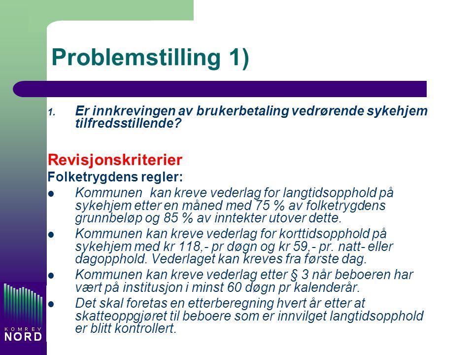 Problemstilling 1) 1. Er innkrevingen av brukerbetaling vedrørende sykehjem tilfredsstillende? Revisjonskriterier Folketrygdens regler: Kommunen kan k