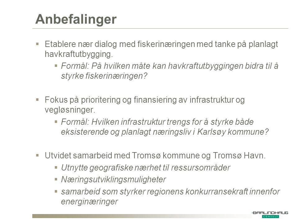 Anbefalinger  Etablere nær dialog med fiskerinæringen med tanke på planlagt havkraftutbygging.