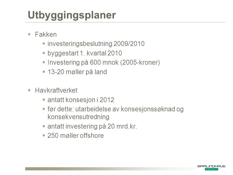 Utbyggingsplaner  Fakken  investeringsbeslutning 2009/2010  byggestart 1. kvartal 2010  Investering på 600 mnok (2005-kroner)  13-20 møller på la
