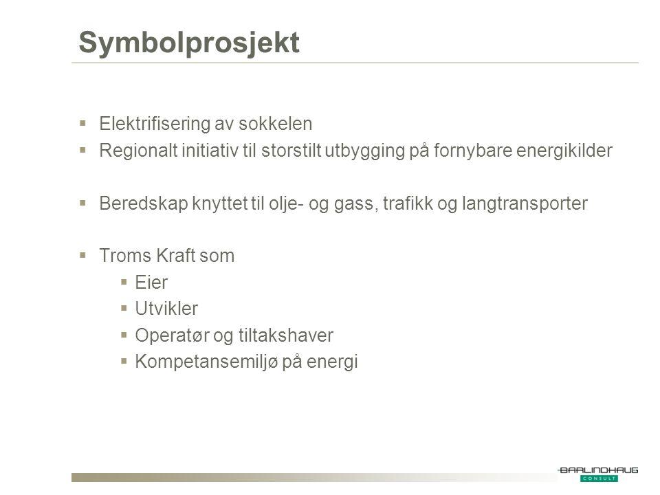 Symbolprosjekt  Elektrifisering av sokkelen  Regionalt initiativ til storstilt utbygging på fornybare energikilder  Beredskap knyttet til olje- og gass, trafikk og langtransporter  Troms Kraft som  Eier  Utvikler  Operatør og tiltakshaver  Kompetansemiljø på energi