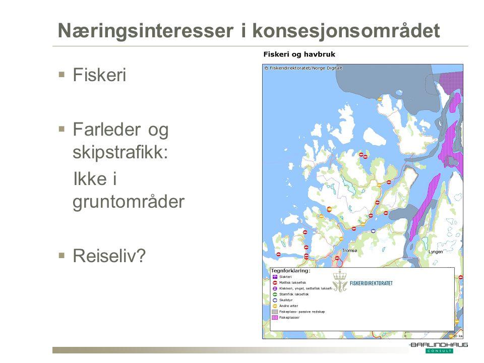 Næringsinteresser i konsesjonsområdet  Fiskeri  Farleder og skipstrafikk: Ikke i gruntområder  Reiseliv