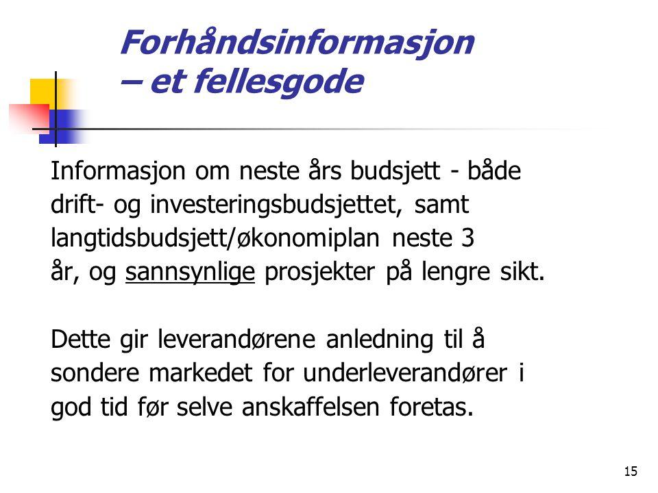 15 Forhåndsinformasjon – et fellesgode Informasjon om neste års budsjett ‑ både drift ‑ og investeringsbudsjettet, samt langtidsbudsjett/økonomiplan n