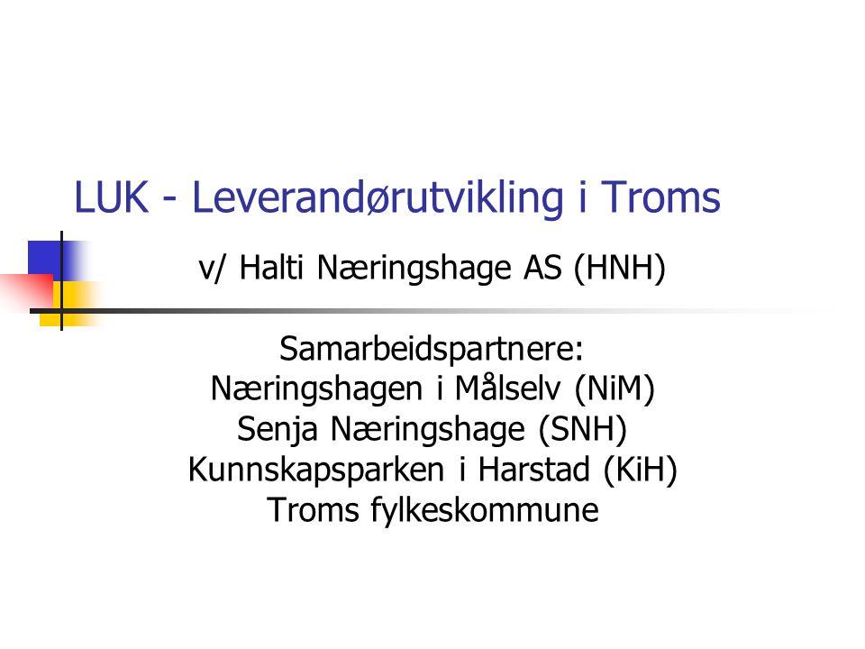 LUK - Leverandørutvikling i Troms v/ Halti Næringshage AS (HNH) Samarbeidspartnere: Næringshagen i Målselv (NiM) Senja Næringshage (SNH) Kunnskapspark