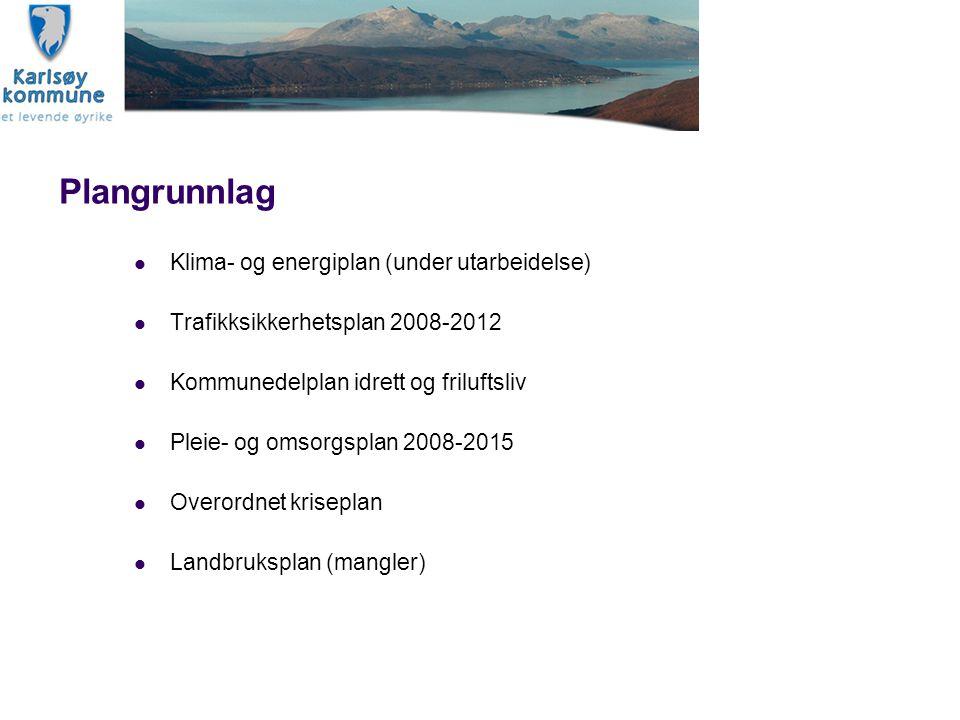 Plangrunnlag Klima- og energiplan (under utarbeidelse) Trafikksikkerhetsplan 2008-2012 Kommunedelplan idrett og friluftsliv Pleie- og omsorgsplan 2008