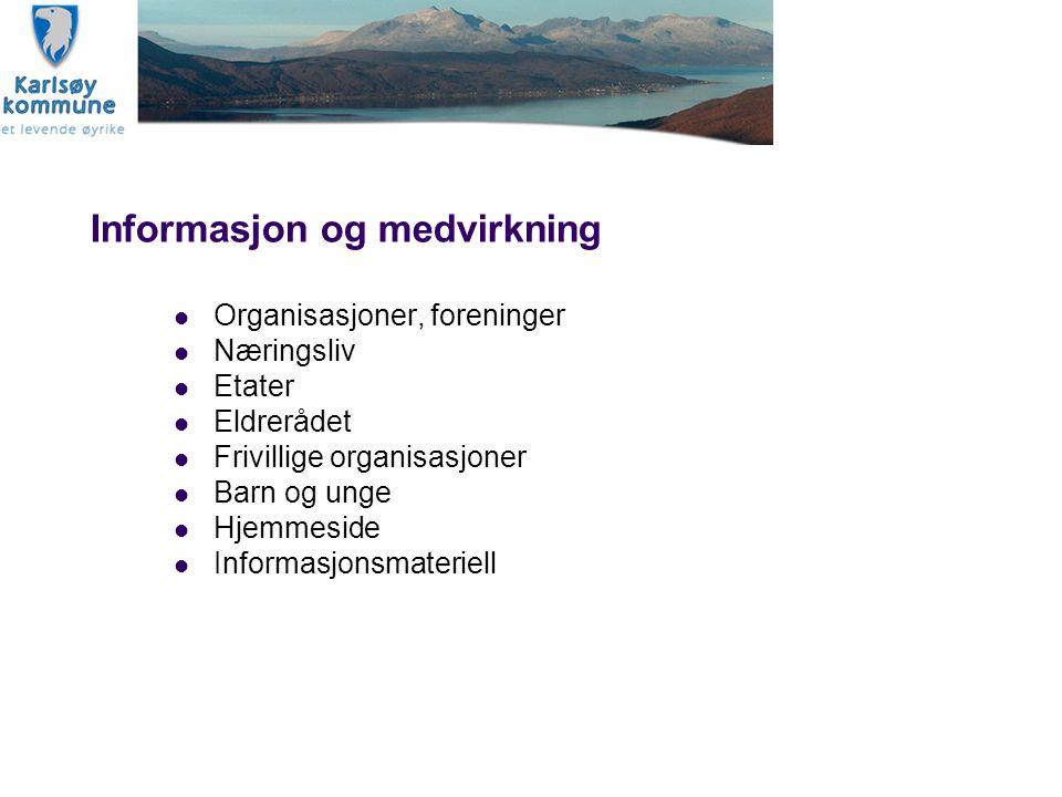 Informasjon og medvirkning Organisasjoner, foreninger Næringsliv Etater Eldrerådet Frivillige organisasjoner Barn og unge Hjemmeside Informasjonsmater