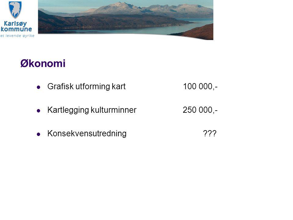 Økonomi Grafisk utforming kart100 000,- Kartlegging kulturminner250 000,- Konsekvensutredning ???
