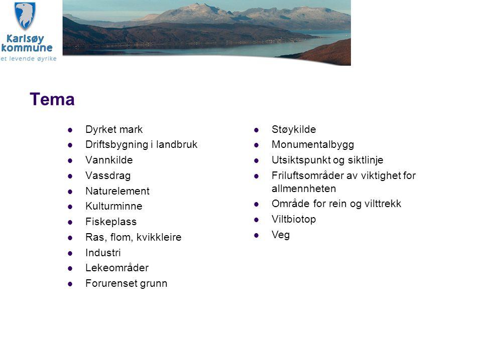 Tema Dyrket mark Driftsbygning i landbruk Vannkilde Vassdrag Naturelement Kulturminne Fiskeplass Ras, flom, kvikkleire Industri Lekeområder Forurenset