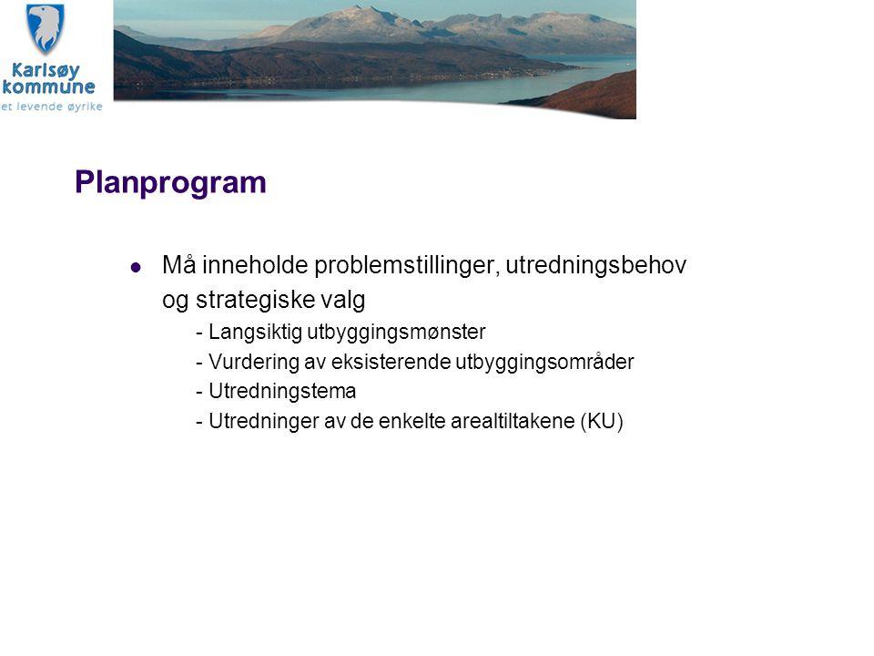 Planprogram Må inneholde problemstillinger, utredningsbehov og strategiske valg - Langsiktig utbyggingsmønster - Vurdering av eksisterende utbyggingso