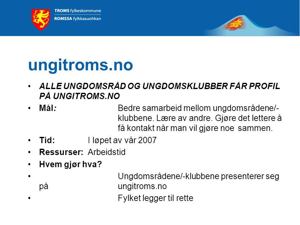 ungitroms.no ALLE UNGDOMSRÅD OG UNGDOMSKLUBBER FÅR PROFIL PÅ UNGITROMS.NO Mål: Bedre samarbeid mellom ungdomsrådene/- klubbene.