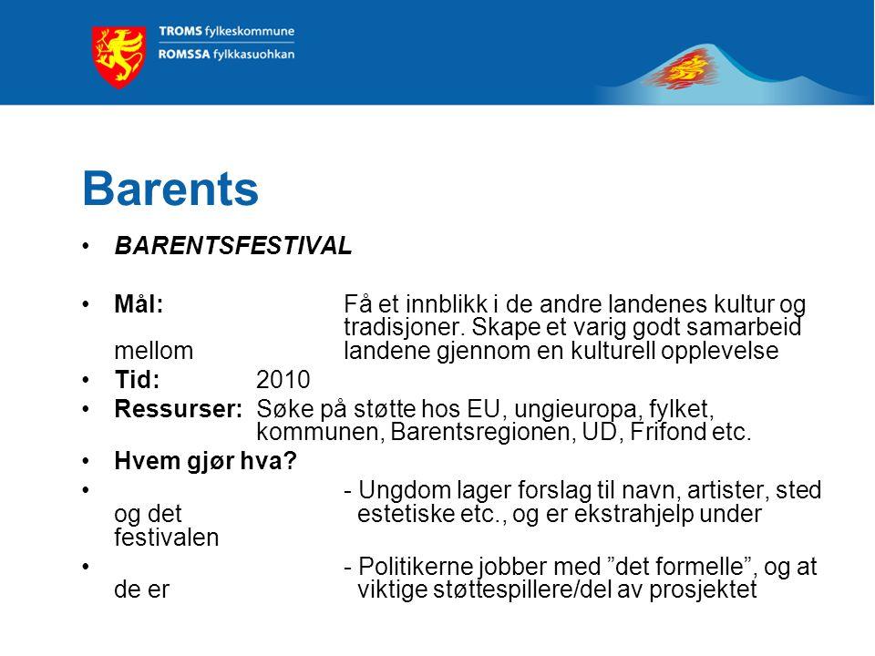 Barents BARENTSFESTIVAL Mål: Få et innblikk i de andre landenes kultur og tradisjoner.