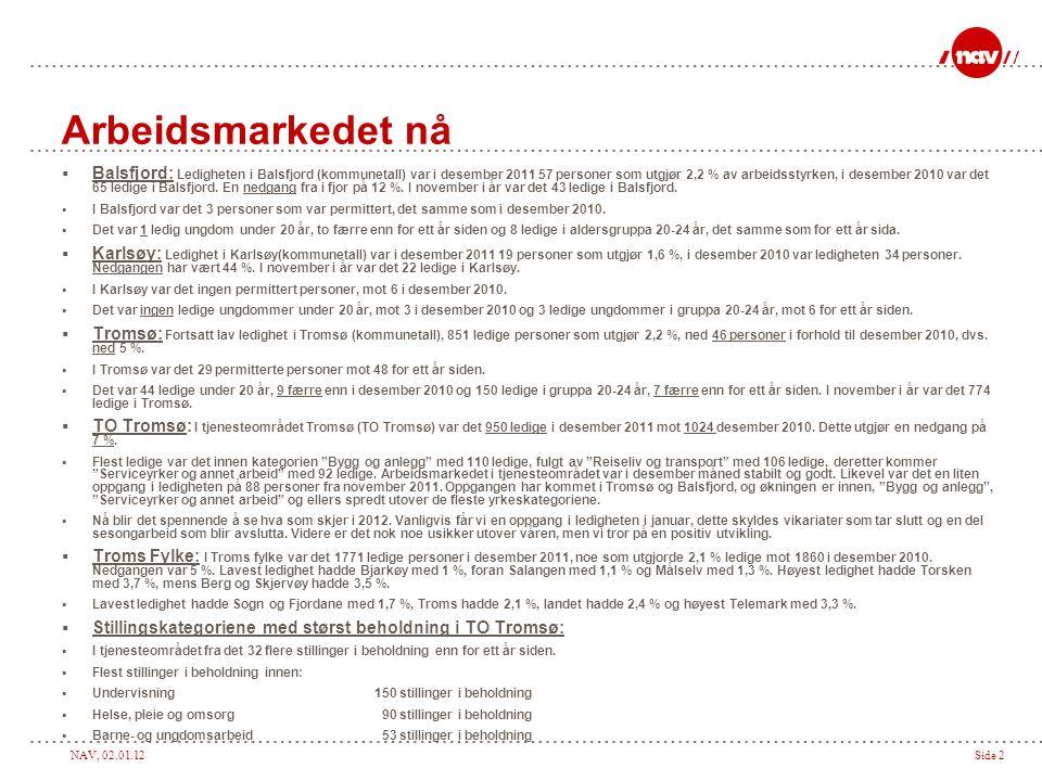 NAV, 02.01.12Side 2 Arbeidsmarkedet nå  Balsfjord: Ledigheten i Balsfjord (kommunetall) var i desember 2011 57 personer som utgjør 2,2 % av arbeidsst