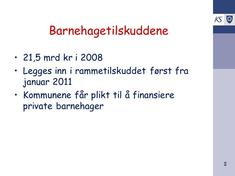 KS Barnehagetilskuddene 21,5 mrd kr i 2008 Legges inn i rammetilskuddet først fra januar 2011 Kommunene får plikt til å finansiere private barnehager