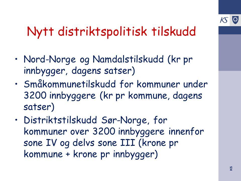 KS Nytt distriktspolitisk tilskudd Nord-Norge og Namdalstilskudd (kr pr innbygger, dagens satser) Småkommunetilskudd for kommuner under 3200 innbygger