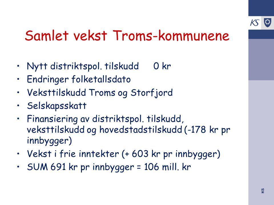 KS Samlet vekst Troms-kommunene Nytt distriktspol. tilskudd0 kr Endringer folketallsdato Veksttilskudd Troms og Storfjord Selskapsskatt Finansiering a