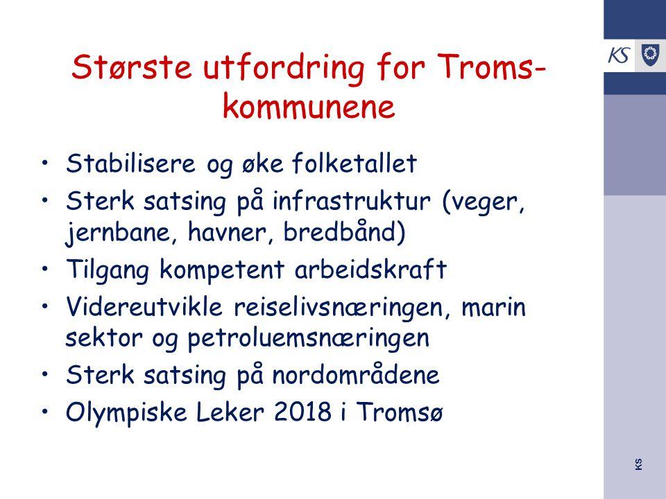 KS Største utfordring for Troms- kommunene Stabilisere og øke folketallet Sterk satsing på infrastruktur (veger, jernbane, havner, bredbånd) Tilgang k