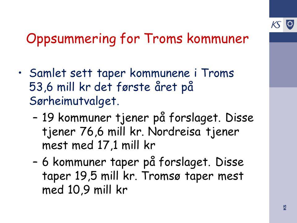 KS Oppsummering for Troms kommuner Samlet sett taper kommunene i Troms 53,6 mill kr det første året på Sørheimutvalget. –19 kommuner tjener på forslag