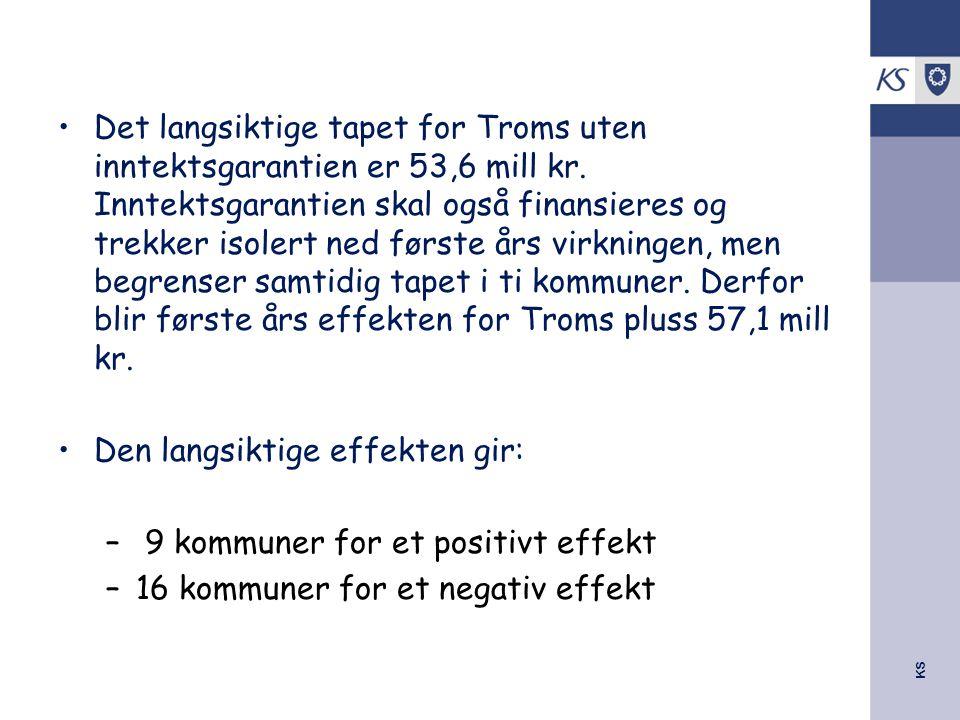 KS Det langsiktige tapet for Troms uten inntektsgarantien er 53,6 mill kr. Inntektsgarantien skal også finansieres og trekker isolert ned første års v