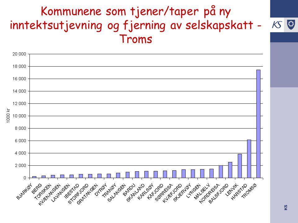 KS Kommunene som tjener/taper på ny inntektsutjevning og fjerning av selskapskatt - Troms