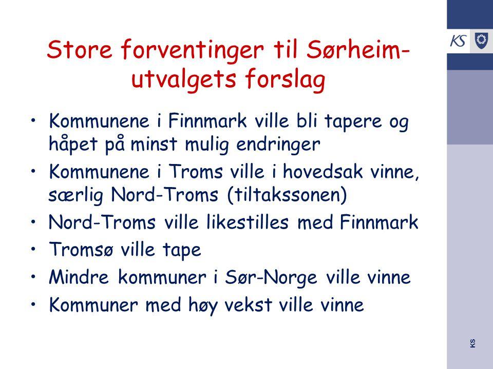 KS Store forventinger til Sørheim- utvalgets forslag Kommunene i Finnmark ville bli tapere og håpet på minst mulig endringer Kommunene i Troms ville i