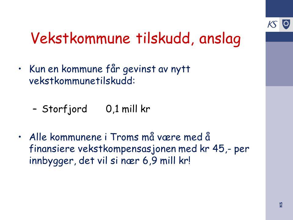 KS Vekstkommune tilskudd, anslag Kun en kommune får gevinst av nytt vekstkommunetilskudd: –Storfjord0,1 mill kr Alle kommunene i Troms må være med å f