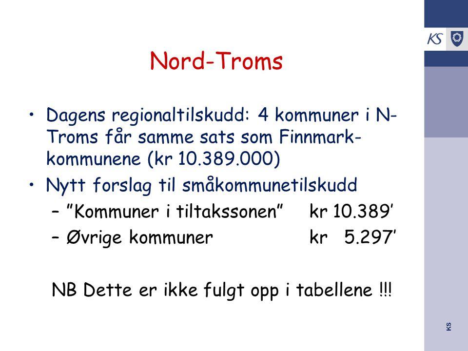 KS Nord-Troms Dagens regionaltilskudd: 4 kommuner i N- Troms får samme sats som Finnmark- kommunene (kr 10.389.000) Nytt forslag til småkommunetilskud