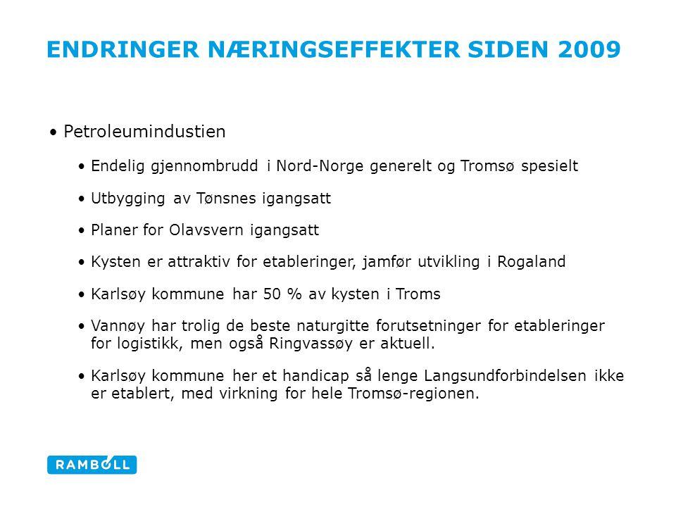 ENDRINGER NÆRINGSEFFEKTER SIDEN 2009 Petroleumindustien Endelig gjennombrudd i Nord-Norge generelt og Tromsø spesielt Utbygging av Tønsnes igangsatt P