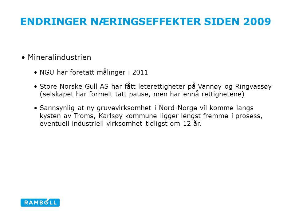 ENDRINGER NÆRINGSEFFEKTER SIDEN 2009 Mineralindustrien NGU har foretatt målinger i 2011 Store Norske Gull AS har fått leterettigheter på Vannøy og Rin