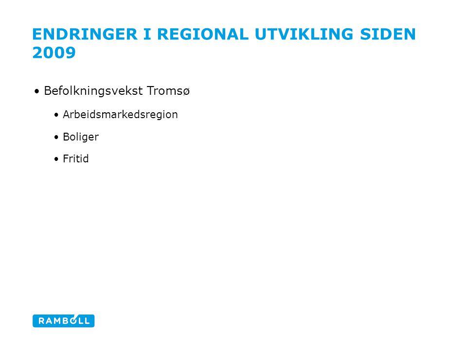 ENDRINGER I REGIONAL UTVIKLING SIDEN 2009 Befolkningsvekst Tromsø Arbeidsmarkedsregion Boliger Fritid