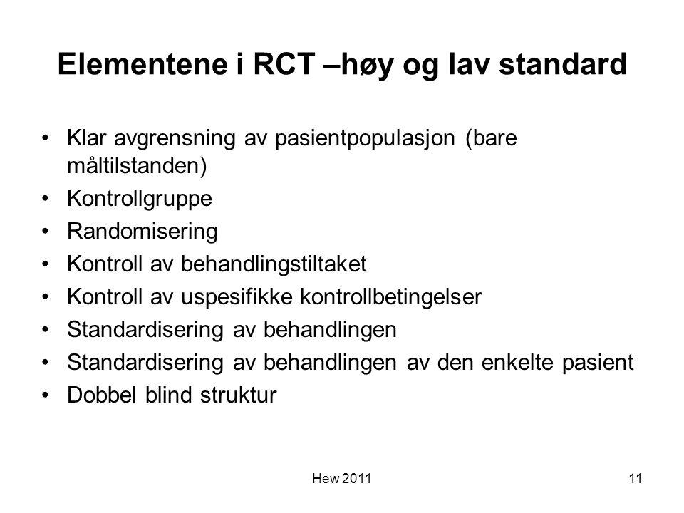 Elementene i RCT –høy og lav standard Klar avgrensning av pasientpopulasjon (bare måltilstanden) Kontrollgruppe Randomisering Kontroll av behandlingst