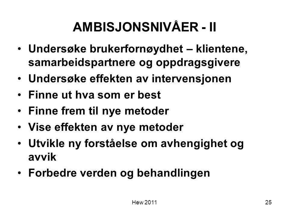 Hew 2011 AMBISJONSNIVÅER - II Undersøke brukerfornøydhet – klientene, samarbeidspartnere og oppdragsgivere Undersøke effekten av intervensjonen Finne