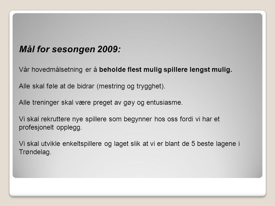 Mål for sesongen 2009: Vår hovedmålsetning er å beholde flest mulig spillere lengst mulig. Alle skal føle at de bidrar (mestring og trygghet). Alle tr