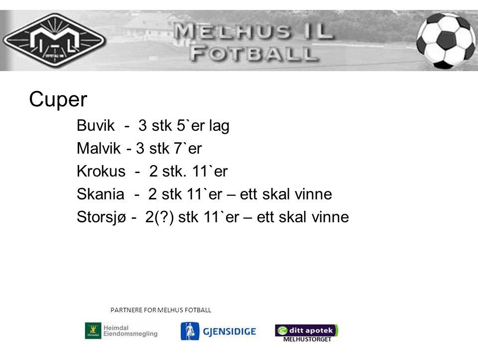 PARTNERE FOR MELHUS FOTBALL Cuper Buvik - 3 stk 5`er lag Malvik - 3 stk 7`er Krokus - 2 stk.