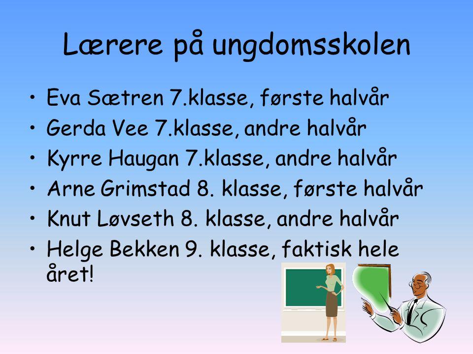 Lærere på ungdomsskolen Eva Sætren 7.klasse, første halvår Gerda Vee 7.klasse, andre halvår Kyrre Haugan 7.klasse, andre halvår Arne Grimstad 8. klass
