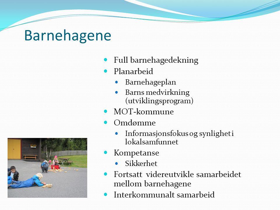 Barnehagene Full barnehagedekning Planarbeid Barnehageplan Barns medvirkning (utviklingsprogram) MOT-kommune Omdømme Informasjonsfokus og synlighet i