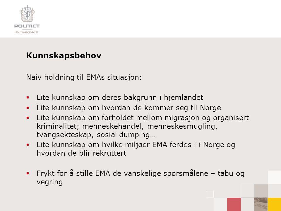 Kunnskapsbehov Naiv holdning til EMAs situasjon:  Lite kunnskap om deres bakgrunn i hjemlandet  Lite kunnskap om hvordan de kommer seg til Norge  L