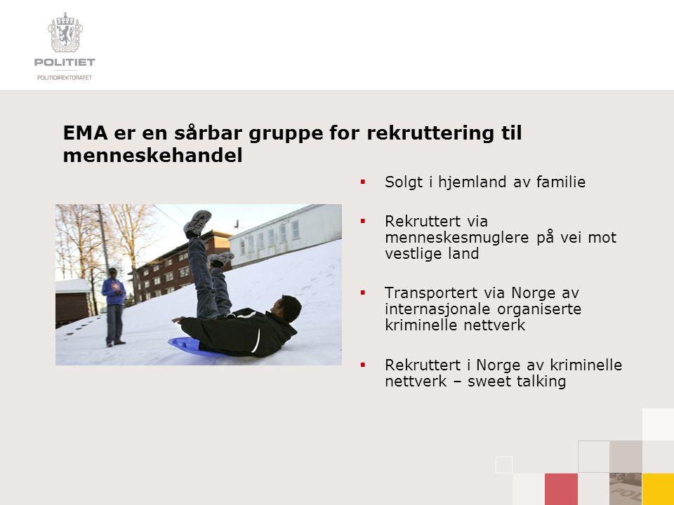 Kunnskapsbehov Naiv holdning til EMAs situasjon:  Lite kunnskap om deres bakgrunn i hjemlandet  Lite kunnskap om hvordan de kommer seg til Norge  Lite kunnskap om forholdet mellom migrasjon og organisert kriminalitet; menneskehandel, menneskesmugling, tvangsekteskap, sosial dumping…  Lite kunnskap om hvilke miljøer EMA ferdes i i Norge og hvordan de blir rekruttert  Frykt for å stille EMA de vanskelige spørsmålene – tabu og vegring