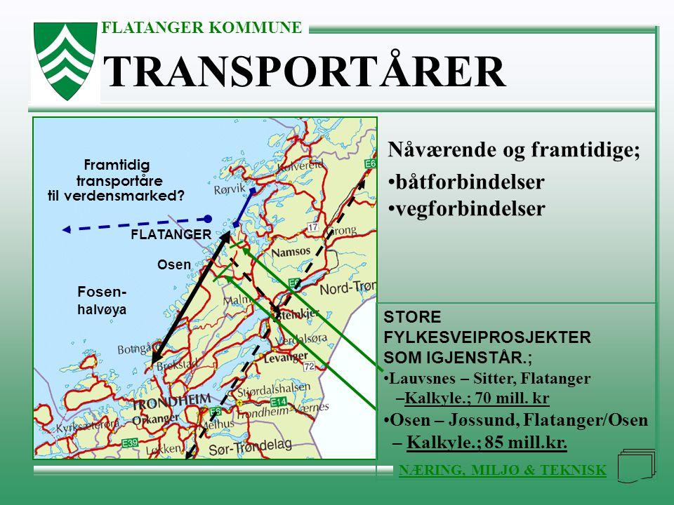 FLATANGER KOMMUNE NÆRING, MILJØ & TEKNISK Fosen- halvøya Osen FLATANGER Framtidig transportåre til verdensmarked.