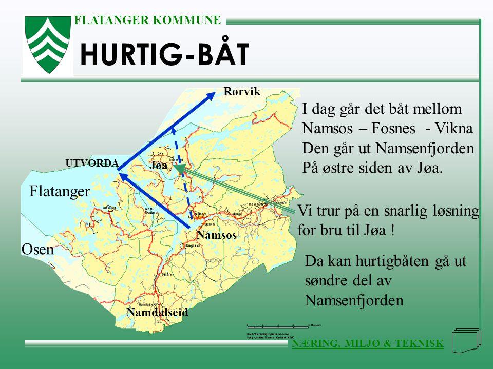 FLATANGER KOMMUNE NÆRING, MILJØ & TEKNISK HURTIG-BÅT I dag går det båt mellom Namsos – Fosnes - Vikna Den går ut Namsenfjorden På østre siden av Jøa.
