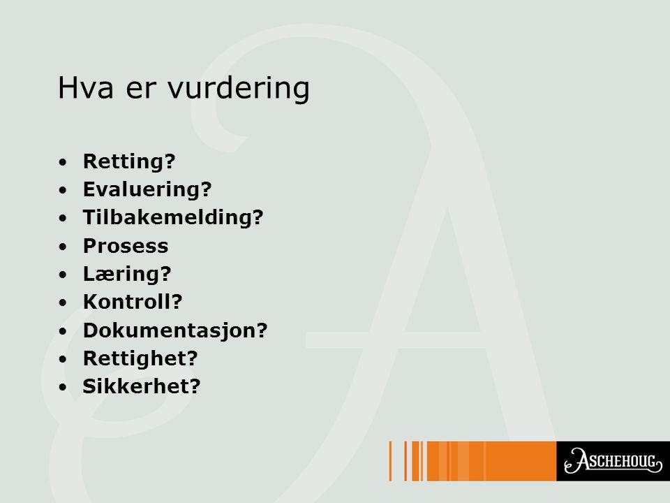 Hva er vurdering Retting? Evaluering? Tilbakemelding? Prosess Læring? Kontroll? Dokumentasjon? Rettighet? Sikkerhet?