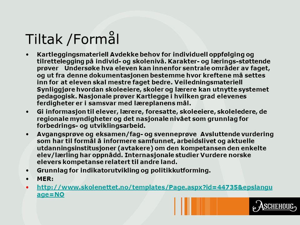Tiltak /Formål Kartleggingsmateriell Avdekke behov for individuell oppfølging og tilrettelegging på individ- og skolenivå. Karakter- og lærings-støtte