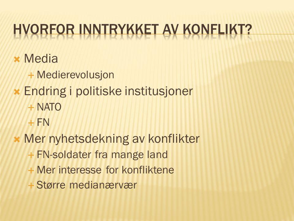  Media  Medierevolusjon  Endring i politiske institusjoner  NATO  FN  Mer nyhetsdekning av konflikter  FN-soldater fra mange land  Mer interes